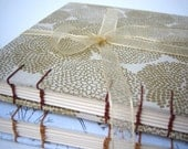 White and Gold Mums Guest Book / Sketch Book, Coptic Stitch Binding, Hand Bound, Ribbon. Made to Order