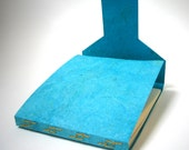Travel Journal, Turquoise Blue, Broken H's Stitch Binding, Hand Bound Book