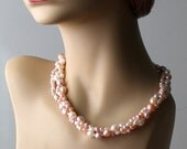 Multi Strand Freshwater Pearl Necklace, hand Knotted, Wedding Pink Lavender White