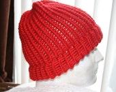 Teen or Adult Winter Hat/Toboggan Red -Hand Loomed/Handmade