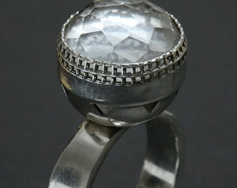 OOAK Designer Silver Ring - Crystal Dome Silver RIng