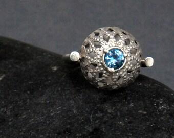 OOAK Blue Zircon Vintage  Style Ring