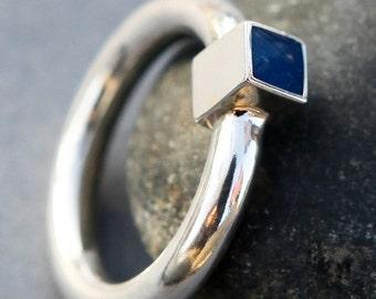 Sterling silver ring, Modern Geometric Ring, blue resin