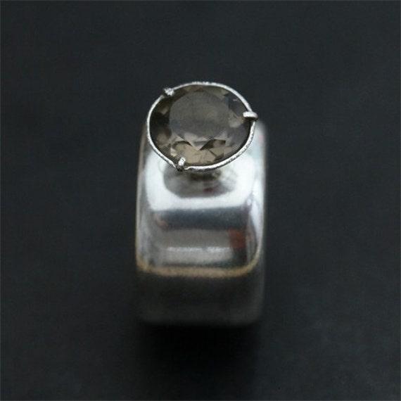 OOAK Smoky Quartz Bombay  Silver Ring, Statement ring, Royal Ring