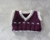 Handknit Sweater Vest for your Teddy Bear or Doll