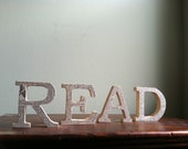 READ Wood Letter with Upcycled Antique Dictionary