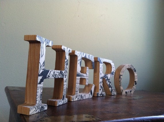 HERO Wood Letters with Upcycled French Fantome Comic in Black and White
