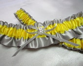 Gray and Yellow Satin Garter Set (Light Yellow, 3rd picture)