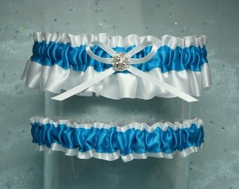 White and Turquoise Garter Set