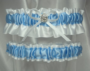 White and Blue Satin Garter Set