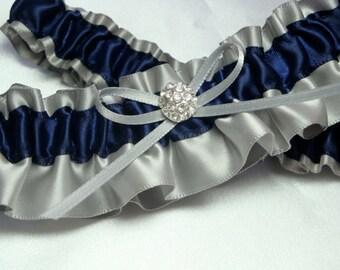 Gray and Navy Blue Satin Garter Set