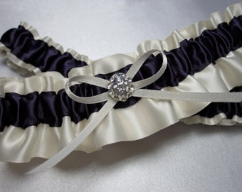 Ivory and Eggplant Satin Garter Set
