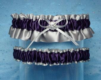 Gray and Eggplant / Purple Satin Garter Set