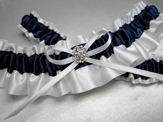 White and Navy Blue Satin Garter Set