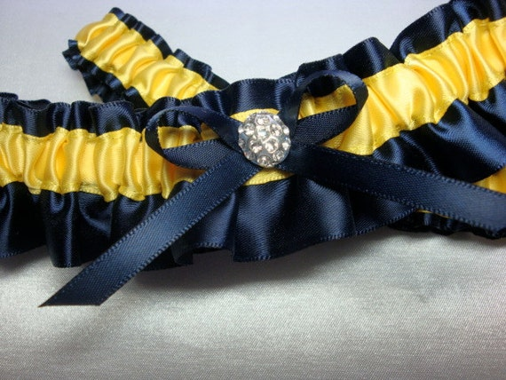 Navy Blue and Yellow Satin Garter Set