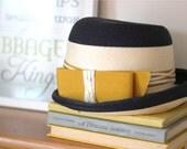 Vintage Hat - Navy Blue and Mustard Yellow - Vintage Chic  - Women's Vintage Hat - Elegant Vintage Fashion