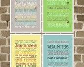 5x7 Four Seasons Art Series - Typography Seasonal Art Prints - Four Seasons Activity Lists - Seasonal Home Decor - Typography Seasons