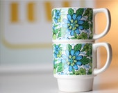 Two Vintage Mugs - Stacking Retro Set of Mugs - Blue and Green Floral Stacking Cups - Mug Set