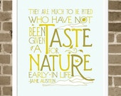 Jane Austen Quote - Nature Word Art Print - Typography Modern Illustration Print - Nature Home Decoration -  Typographic Nature Art