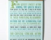 12x18 Typography Poster - Subway Art Poster - Modern Aqua Turquoise - Robert Burns Poem Quote Art - Flow Gently Sweet Afton Poetry