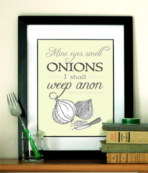 Shakespeare Quote Art for Kitchen Typography Print - Kitchen Art Illustration - Cooking Print - Food Art - Free Shipping