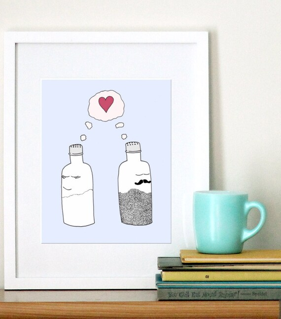 Salt and Pepper in Love - Kitchen Art Illustration - 8x10 Art for Kitchen Print - Modern Illustration - Flourish Cafe - Free Shipping