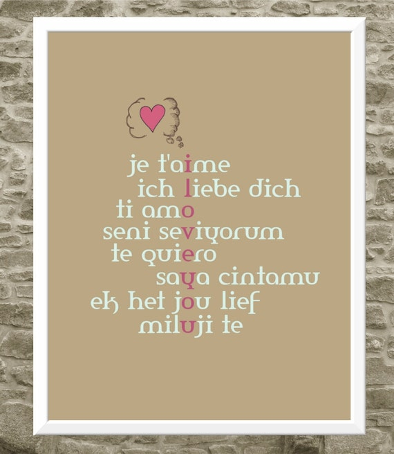 Love Print - Typography Art - I Love You - Je T'aime - Foreign Languages - Typographic Love Art - 11x14 Print- Love Languages
