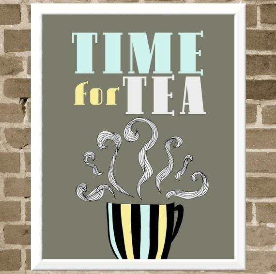 Tea Lover - Time for Tea Print - Typography Illustration - Cafe Art for Kitchen - Modern Drawing - Tea Cup Kitchen Art - FlourishCafe