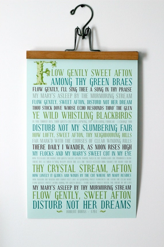 12x18 Typography Poster - Subway Art Poster - Modern Aqua Turquoise - Robert Burns Poem Quote Art - Flow Gently Sweet Afton Poetry