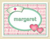 Note Cards For Nurses - So Sweet In Pink & Green - Personalized (10 Folded)
