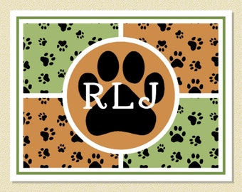 Delightful Pooch Paw Print Note Cards - Personalized (10 Folded)