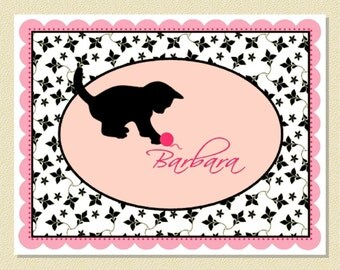 Sweet Playful Kitten Note Cards - Personalized (10 Folded)