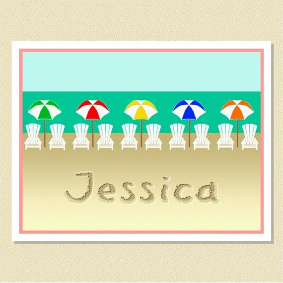 A Day At The Beach - Fun Personalized Note Cards (10 Folded)