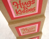 Gift Box Set of 3. in Red, Pink and Kraft. Hugs and Kisses