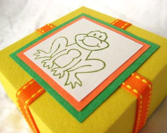 Ribbit Frog Treat Box. in Yellow, Orange and Green. Colorful Candy Container. Hand-folded Keepsake. for Giving... with Love. by la Naváa