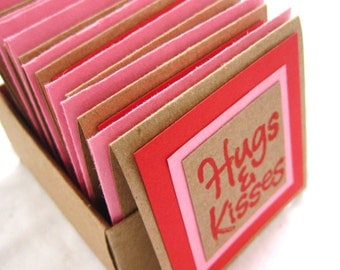 Hugs & Kisses. Mini Note Cards with Envelopes Gift Box Set. in Pink, Red and Kraft. Blank Inside. Hand-folded. for Giving... with Love