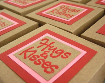 Hugs & Kisses Gift Box. Set of 3. in Red, Pink and Kraft Brown. Hand-folded Keepsake. Upcycled Favors. for Giving... with Love. by la Naváa