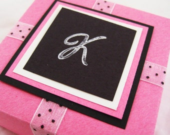 Initial Gift Box. Personalized. Pink with White & Black Polka Dots. Cursive Custom Letter. Hand-folded. for Giving... with Love. by la Naváa