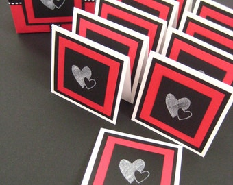 Note Cards & Gift Box Set. Berry Hearts. in Black, Red and White. Blank Inside. Hand-folded Keepsake. for Giving... with Love