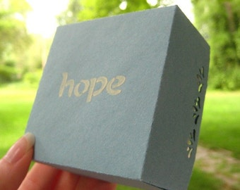 HOPE. the Gift Box. in Baby Blue and Cream. Encouragement Momento. Hand-folded Keepsake. for Giving... with Love. by la Naváa