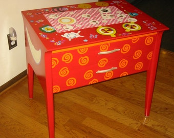 Hand Painted Table -A birds-eye view of the Mad Hatter's Tea Party