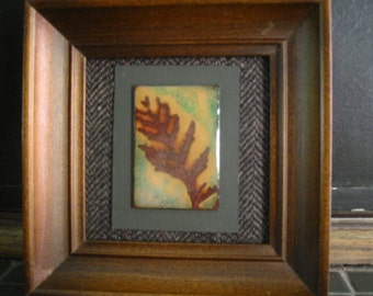 Leaf Impressions in Copper Enamel: Butterfly Plant- Original Art