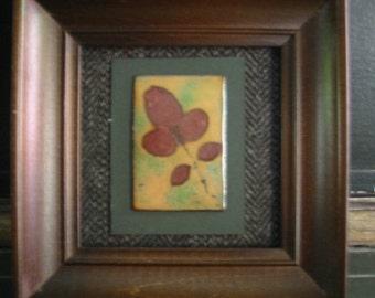 Leaf Impressions in Copper Enamel: Rose- Original Art
