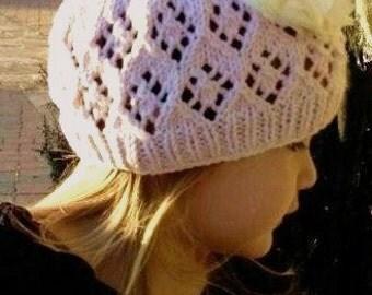 KNITTING PATTERN, Girls lace beanie,girls openwork hat, girls,eyelets,pink,openwork,cotton,summer hat,girls knit beanie,toddler girls,spring