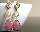 Rhinestone, Pink Earrings, Gold Earrings, Cubic Zirconia, CZ, Bridal, Wedding Earrings handcrafted by SimplySleek