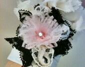 Black,Pink,White lace flower wrist cuff size-S