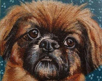 Pekingese Miniature Painting with Easel