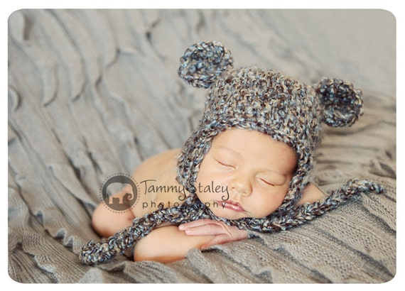 Bear hat with ties Newborn only perfect for photo prop girl or boy FREE SHIPPING