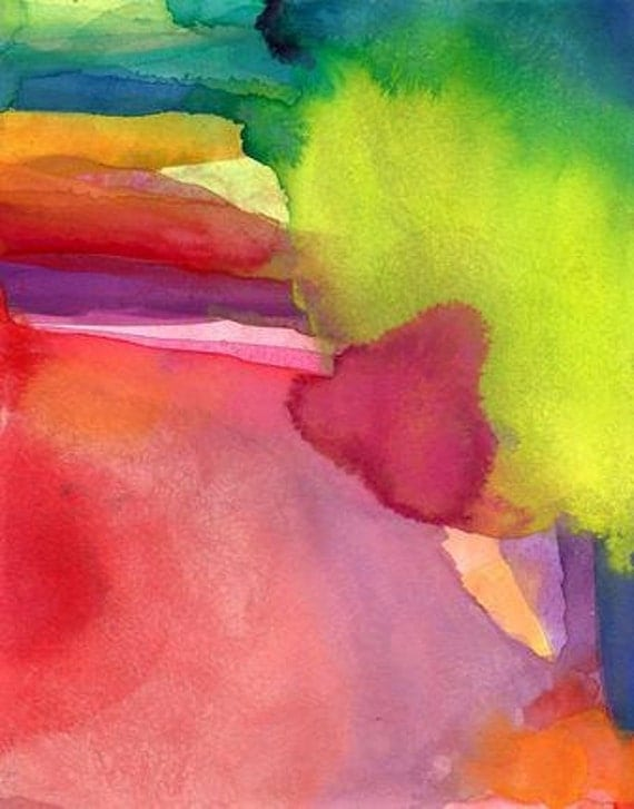 Cocoon, Original Watercolor Painting, abstract art nature emotion color hot pink orange green