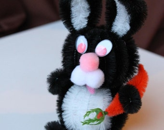 Chenille Bunny - Black with White Belly